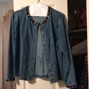 Mirasol jeweled blue jean jacket, like new.